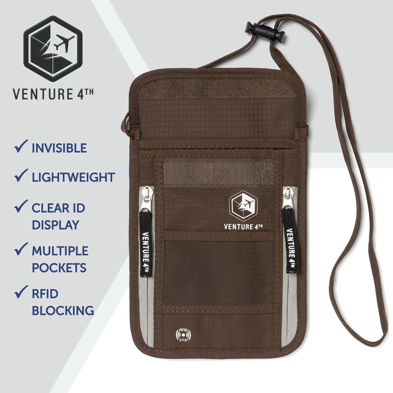 Venture 4th Passport Holder Neck Pouch With RFID – Safety Passport Pouch (Brown) by VENTURE 4TH (Image #7)