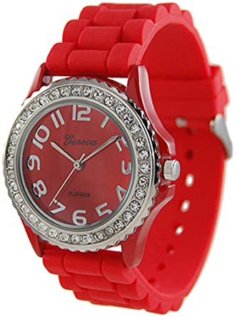womens rhinestone accented watch color red - Color Watches