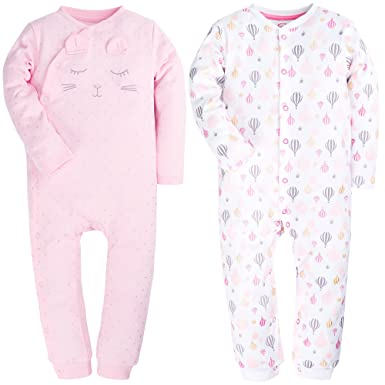 17bdbcb6a Amazon.com  2 Packed Pink Footed Baby Girls Pajamas Fold-Over Hands ...
