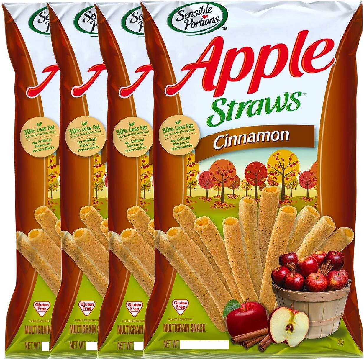 NEW Sensible Portions Apple Cinnamon StrawsGluten Free Multigrain Snack Net Wt 5oz (4)