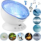 Exelme Night Light Projector Ocean Wave - Sound Machine with Soothing Nature Noise and Relaxing Light Show - Color Changing Wave Light Effects for Kids Adults Bedroom Living Room