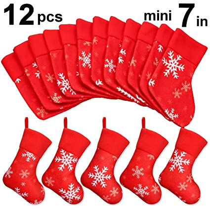 Ivenf 12 Pack 7 Plush Snowflake Mini Christmas Stockings Gift Card Bags Holders Bulk Personalized Treats For Neighbors Coworkers Kids Cats Dogs
