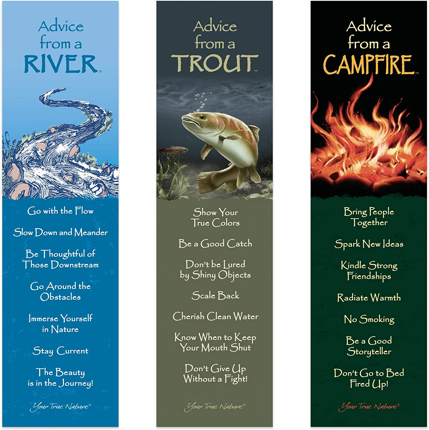 Advice from Nature 3 Bookmark Manly Set - Campfire, Trout, River by Your True Nature
