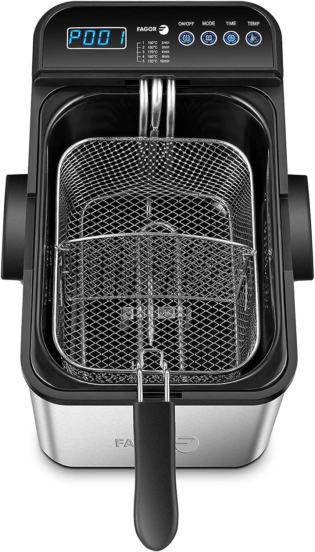 Fagor Elektra DigitalPro FG403 Freidora Eléctrica Acero Inoxidable 4.2 litros, Cestillo Separador, Panel Digital, Temporizador, Cubeta Esmaltada Extraíble-Filtro Carbon Antiolor, 3000W, Plata, XL: Amazon.es