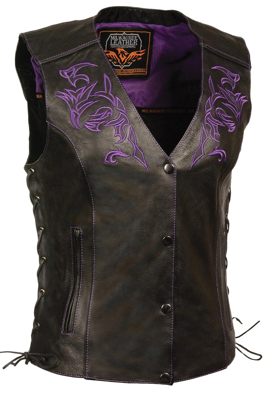 Milwaukee Womens Leather Vest Black//Purple, Small