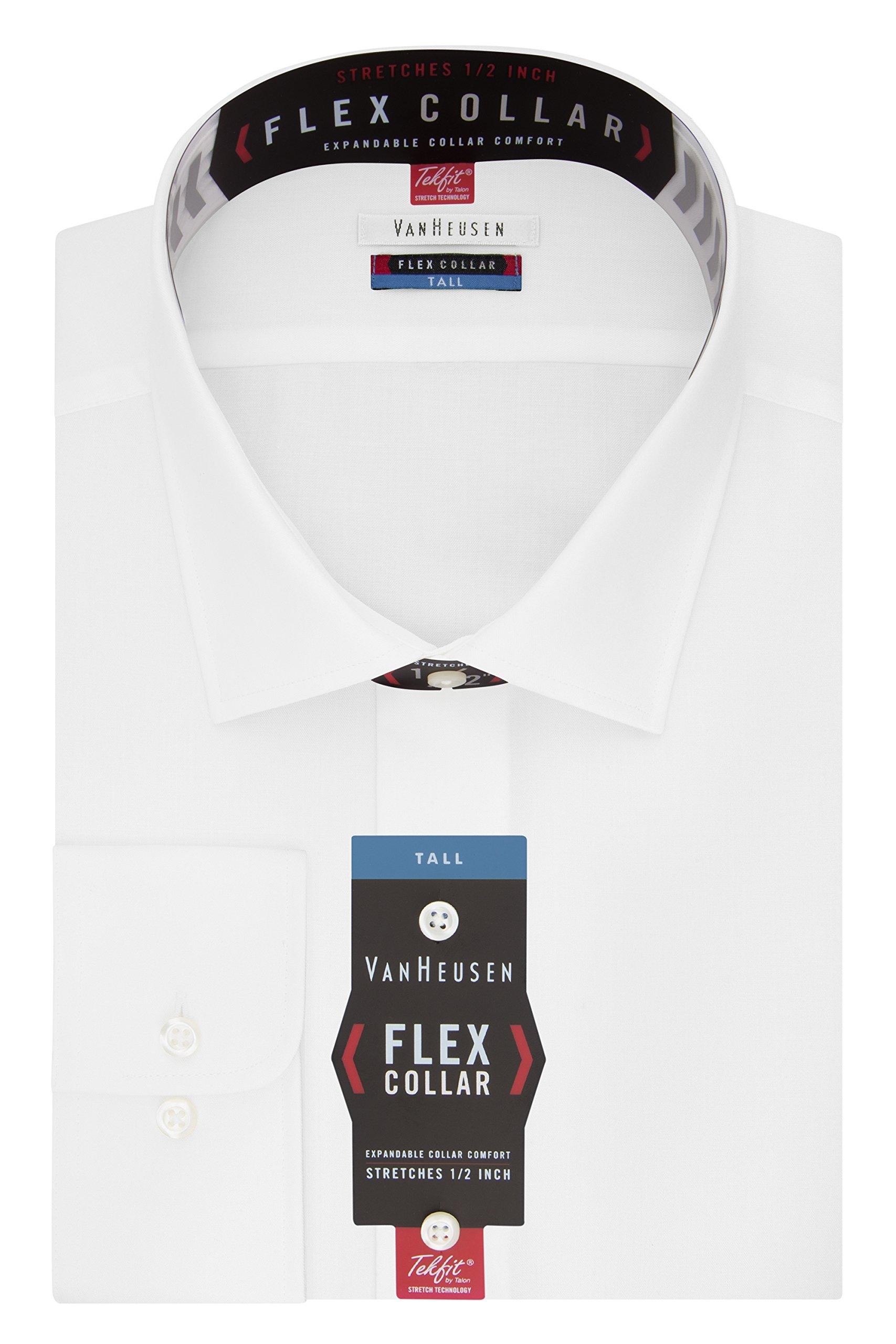 Van Heusen Men's Big and Tall Flex Fit Solid Spread Collar Dress Shirt, White, 17.5'' Neck 37''-38'' Sleeve