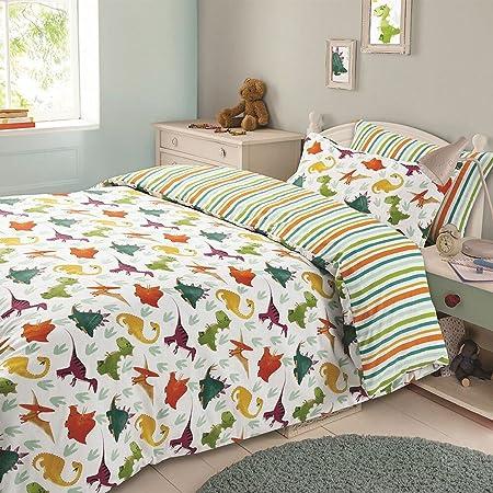 Dreamscene Kids Duvet Cover Pillowcase Bedding Set Boys Girls Dinosaur  Reversible Stripe   Double