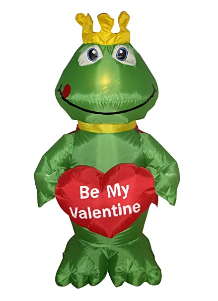 755872a5b28a8 4 Foot Valentine's Day Inflatable Frog King with Sweet Heart Yard Decoration