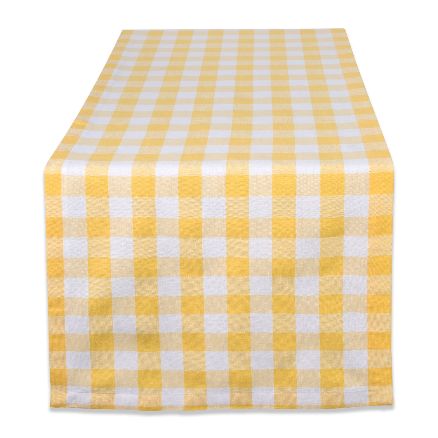 DII 100% Cotton, Machine Washable, Dinner, Everyday Use Table Runner, 14x72'' , Yellow & White Check by DII
