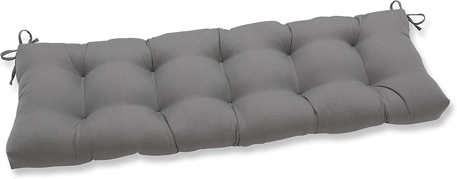 """Pillow Perfect Outdoor/Indoor Tweed Tufted Bench/Swing Cushion, 60"""" x 18"""", Gray"""