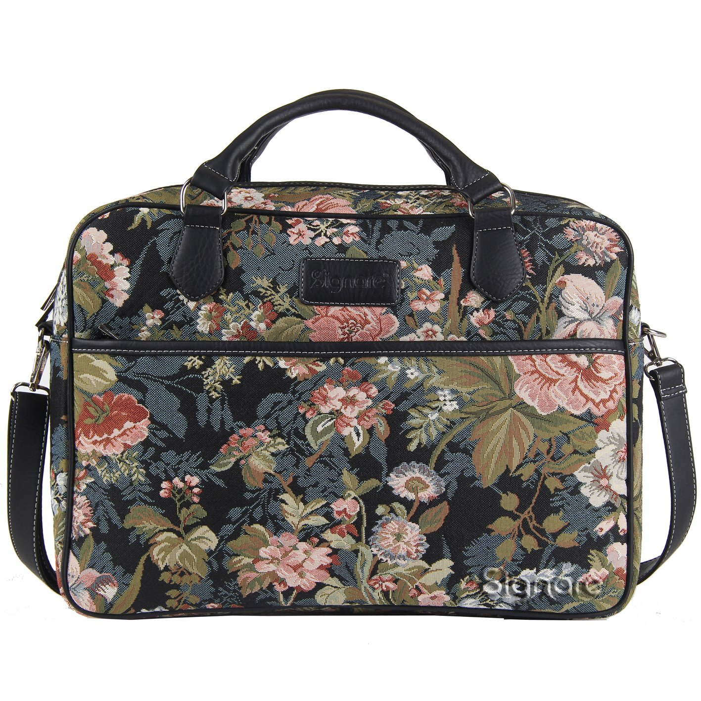 Signare Tapestry Women Laptop/Computer Bag Peony Flowers in Black (CPU-PEO)