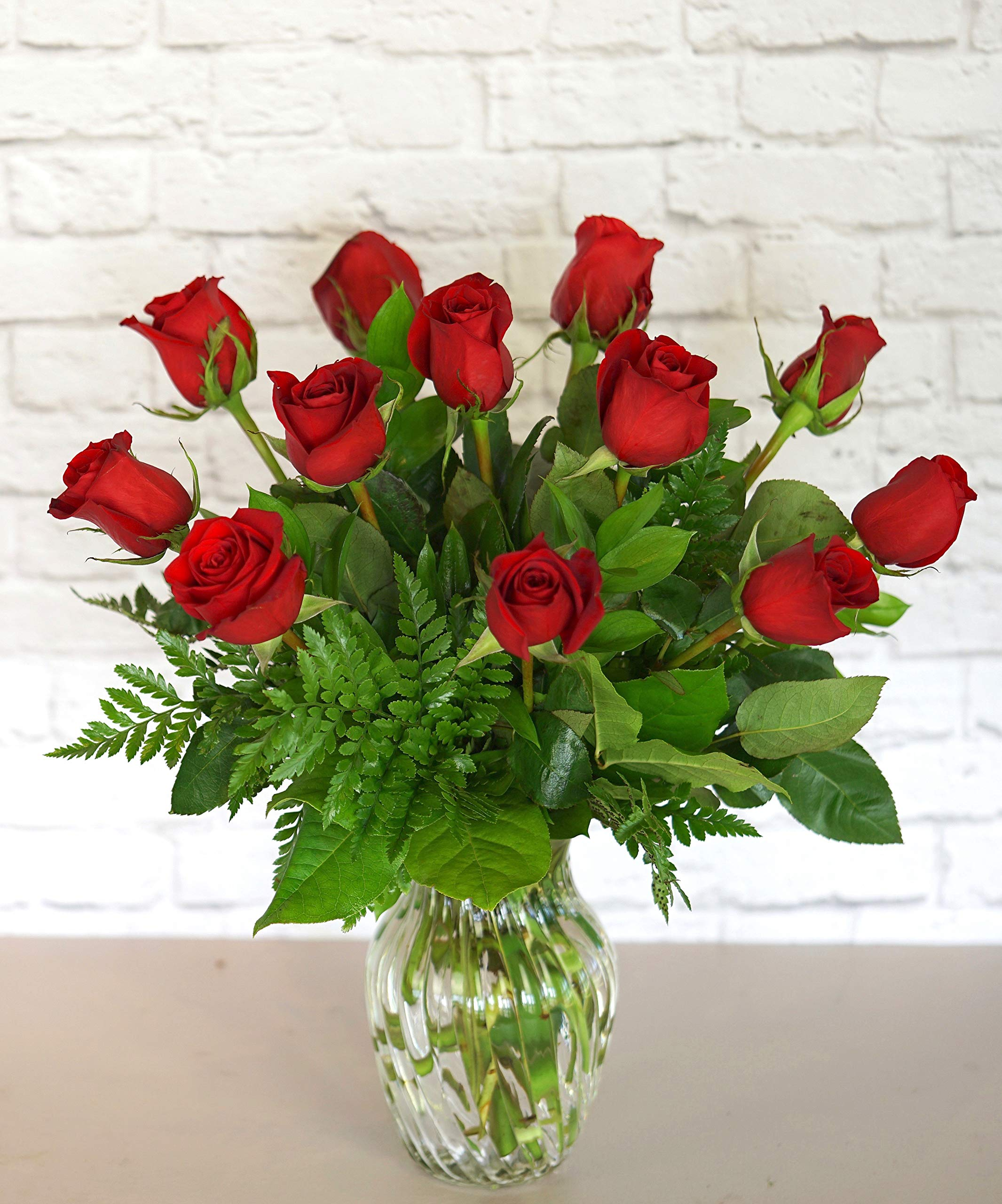 One Dozen Classic Red Roses - Fresh Flowers Hand Delivered