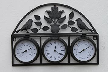 Bird And Leaf Design Garden Clock, Thermometer And Hygrometer WITH FREE  BATTERY For Outdoor Or