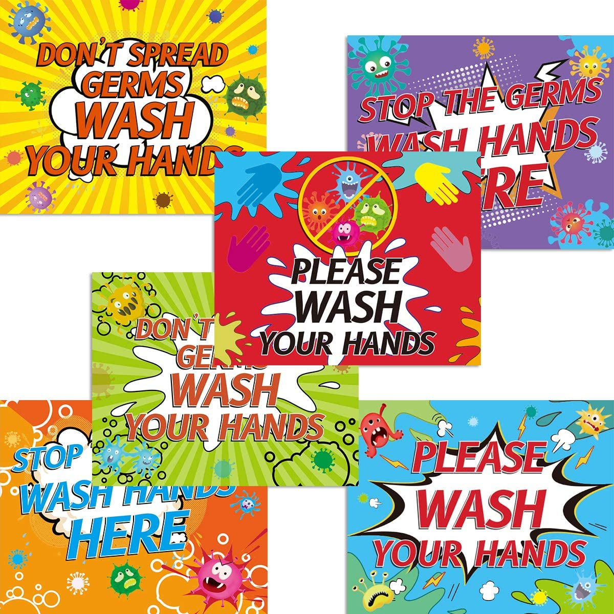 Hand Washing Decals Stickers Please Wash Your Hands Signs Bathroom Office School Home