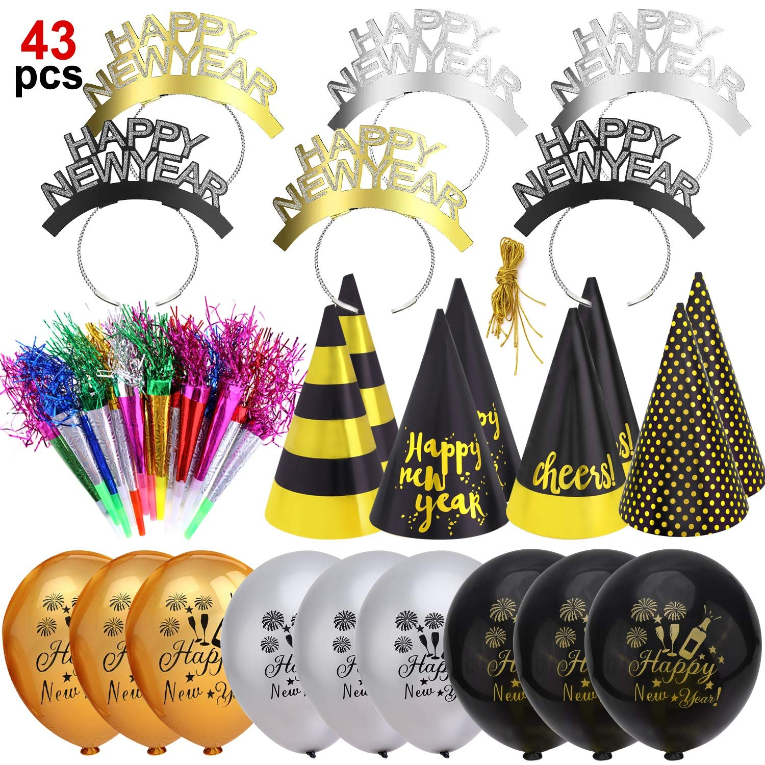 Howaf 2021 New Year Eve Party Supplies 2021 New Year Party Decorations Kit 43pcs Happy New Year Party Headband Horns Hats Blowouts And Balloons For Kids Adults New Year Party Favors Buy