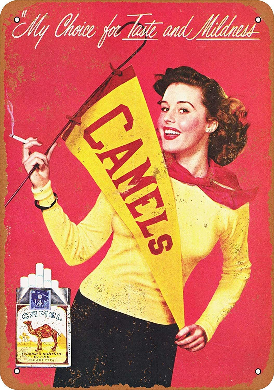 Funny Retro Wall Décor Tin Sign for Home Cheerleaders for Camel Cigarettes Rustic Vintage Look Reproduction Aluminum Metal Sign 8x12 INCH (YHA038)