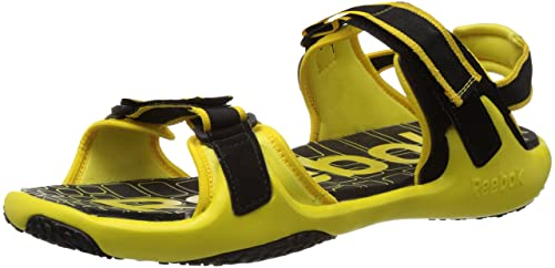 0555d35f36a530 Image Unavailable. Image not available for. Colour  Reebok Men s Adventure  Grail LP Black and Radar Yellow Sandals and Floaters ...