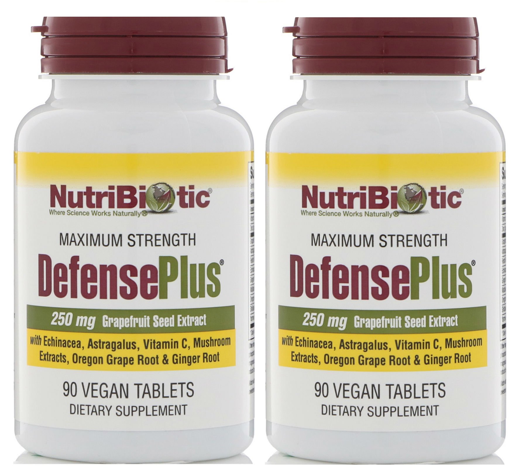 NutriBiotic DefensePlus 250 mg (Pack of 2) with Grapefruit Seed Extract and Vitamin C, 90 tablets per bottle