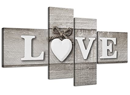 Wallfillers Large Shabby Chic Love Quote Grey Canvas Wall Art Prints Multi 4 Part 4297