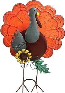BEBEKULA 14.8 '' Thanksgiving Turkey Decoration Metal Free Standing Turkey Decoration for Autumn Fall
