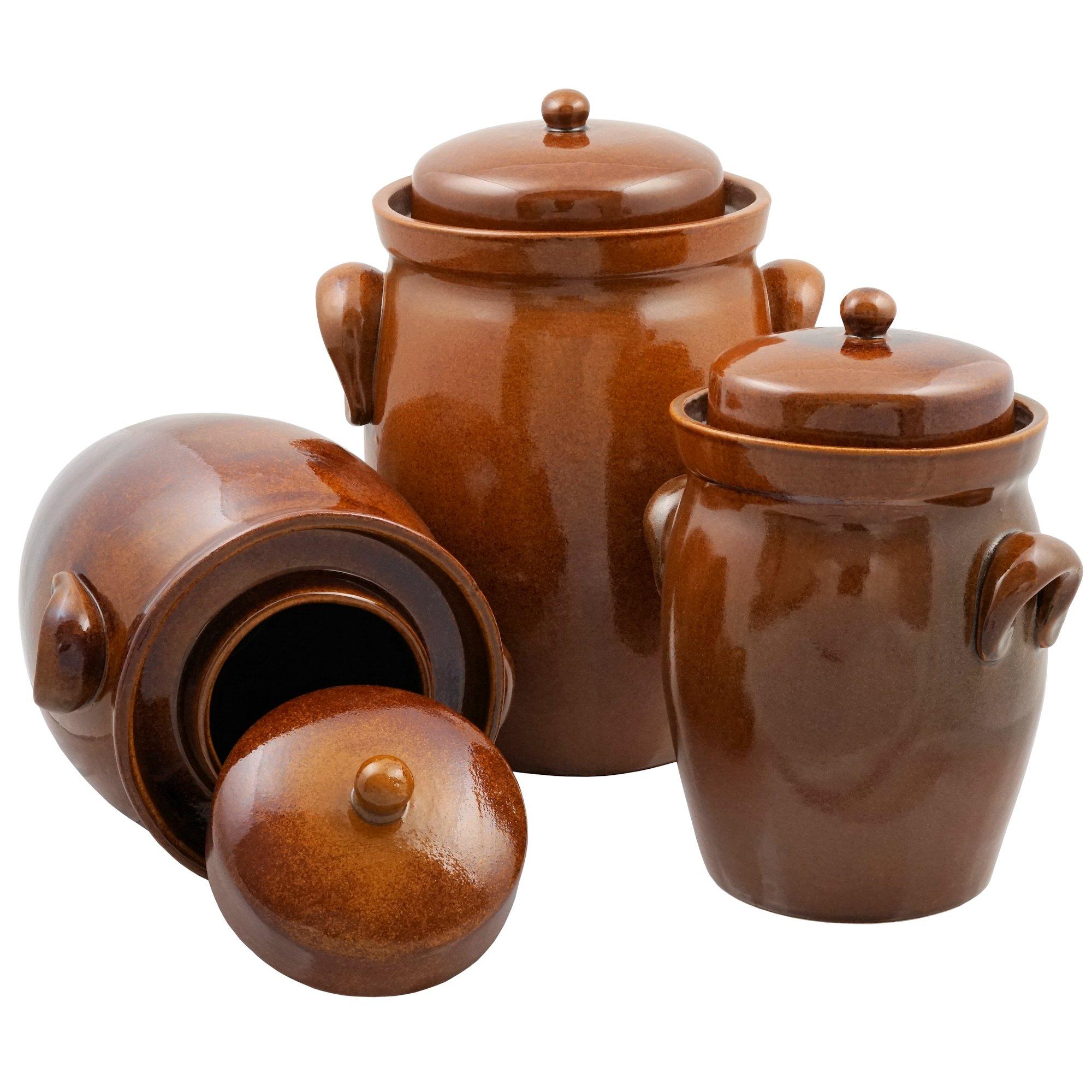 K&K German Fermenting Pot | brown | Fermentation Jar | Crock Pot | Made in Germany (5.0 Liter (1.3 Gal)) by K&K (Image #3)