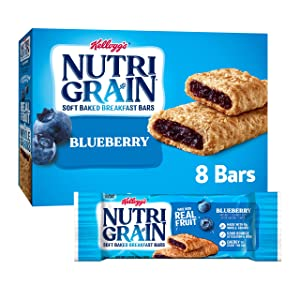 Kellogg's Nutri-Grain, Soft Baked Breakfast Bars, Blueberry, Made with Whole Grain, 10.4oz Box (8 Count)