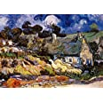 Powza 1000 Pieces Jigsaw Puzzle, Classic Oil Paintings - Thatched Cottage, Artwork Art Large Size Jigsaw Puzzle Toy for Educa