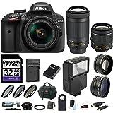 Nikon D3400 DSLR Camera w/ 18-55mm & 70-300mm Lens, Flash, Filters and 32GB Kit