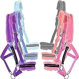 Knight Rider Soft Padded Fur Diamante Adjustable Head Collar/Headcollar & Lead Rope Set AND Tigerbox® Antibacterial Pen!