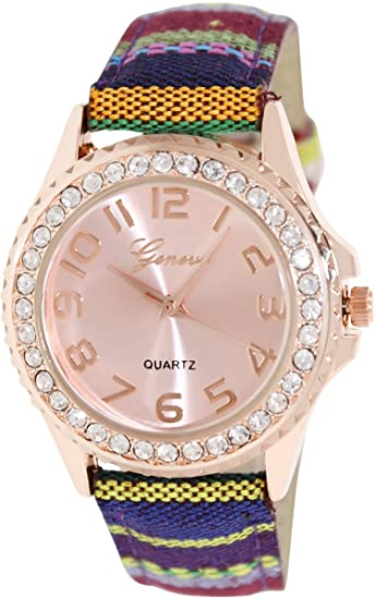 Geneva Platinum 002.ROSEGOLD.STRIPES Mujeres Relojes
