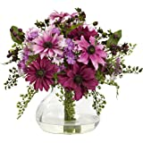 Nearly Natural 1354-PK Mixed Daisy Arrangement with Vase, Pink
