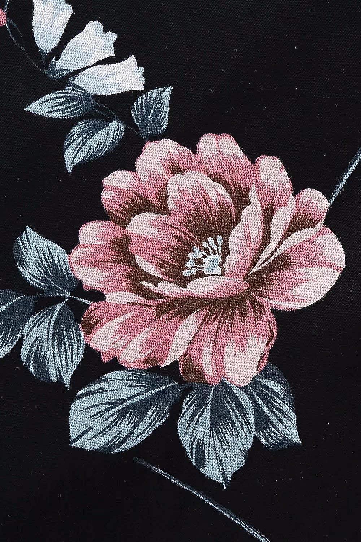 MisShow 1950er Langarm Vintage Retro Blumen Drucken Kleid Neckholder Swing Abendkleid
