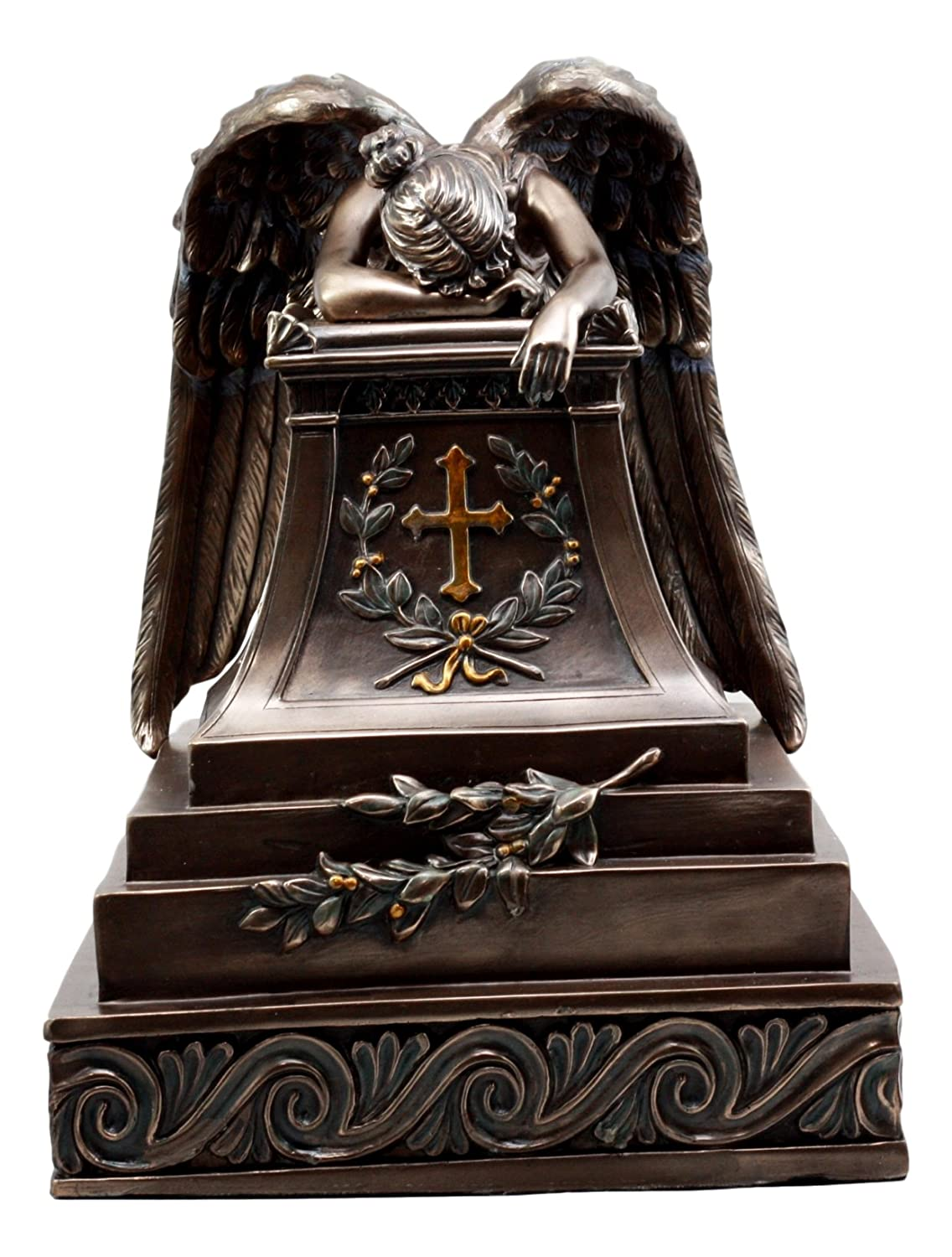 Ebros Bronzed Inspirational Guardian Mourning Angel Cremation Urn Statue 12.75 Tall 320 Cubic Inches Capacity Bottom Load Feature Decorative Figurine