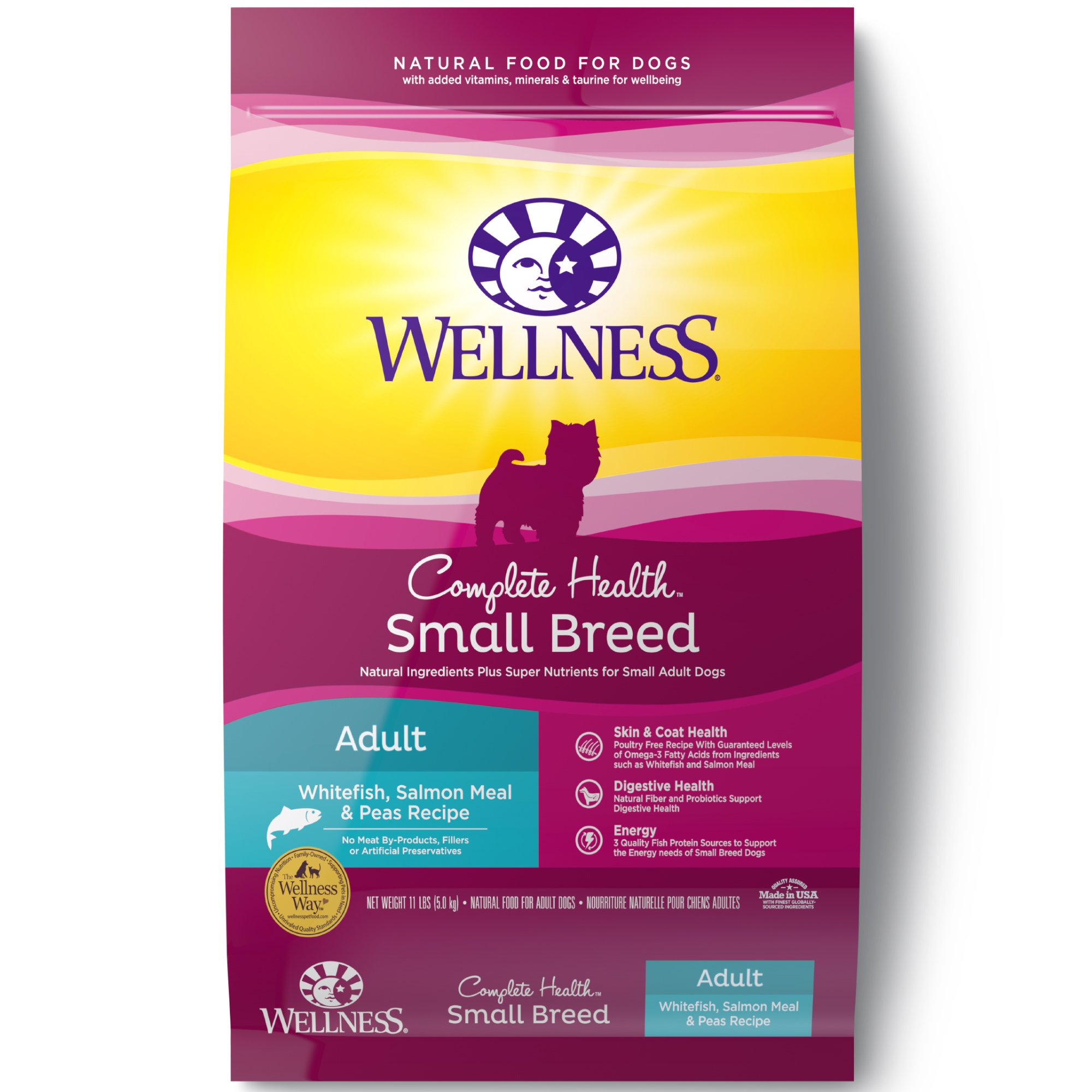 Wellness Complete Health Natural Dry Small Breed Dog Food, Whitefish, Salmon & Peas, 11-Pound Bag