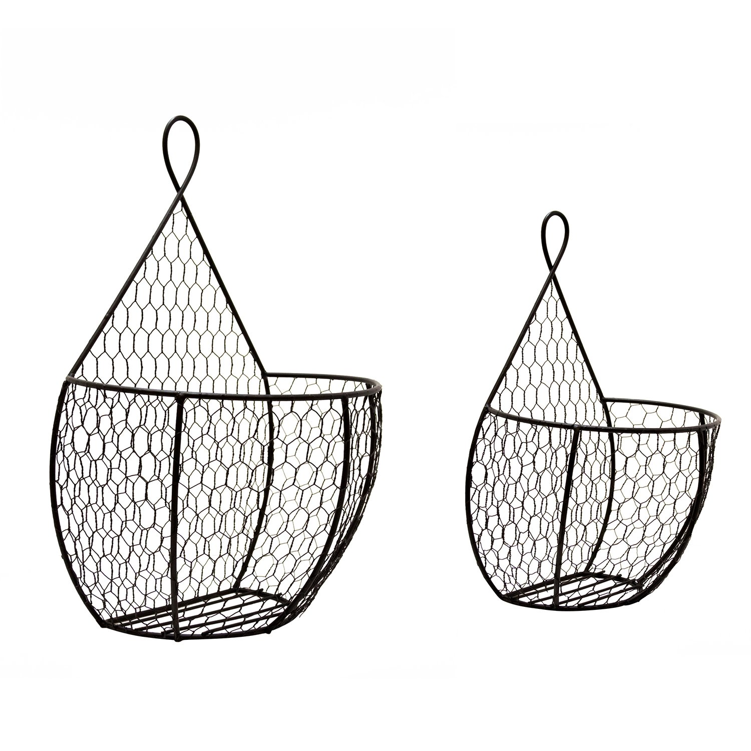 Useful UH-WB234 Double Hanging Display Storage Baskets - Pair of Wall Mount Baskets 1 Large 1 Small Wall Hanging Units for Flowers, Fruits and Veggies, Decorations, and More