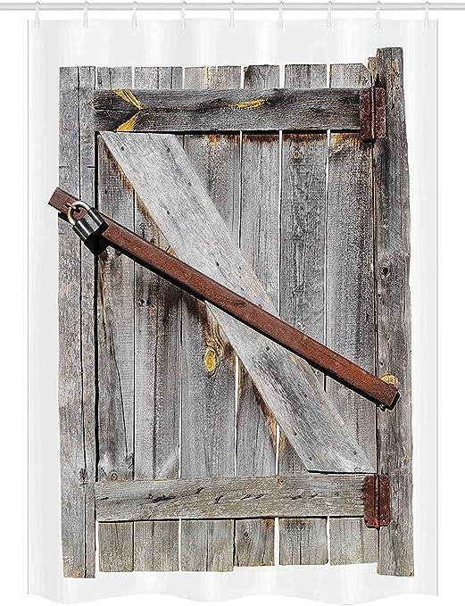 Escalera rústica estable de madera envejecida Granero de Portada con cerraduras oxidadas cruzadas Abandonatodesign de la antigua casa occidental hecha de baño Muebles de baño con ganchos Marrón: Amazon.es: Hogar