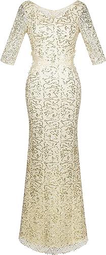 Angel-fashions Women's V Neck Sequin Half Sleeves Mermaid Sheath Maxi Dress