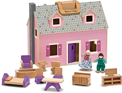 LARGE Handcrafted Folding DOLLHOUSE wooden Doll Preschool Play House PINK