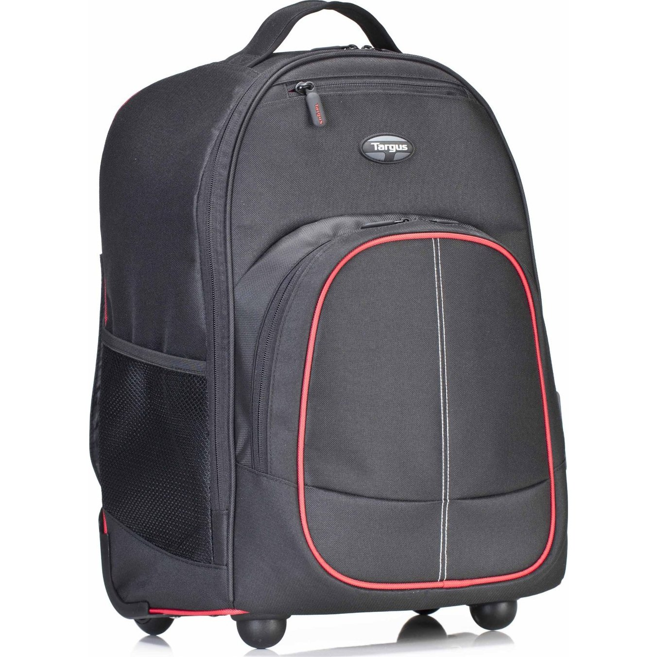 Targus Compact Rolling Backpack for 16-Inch Laptops, Black/Red (TSB75001US)