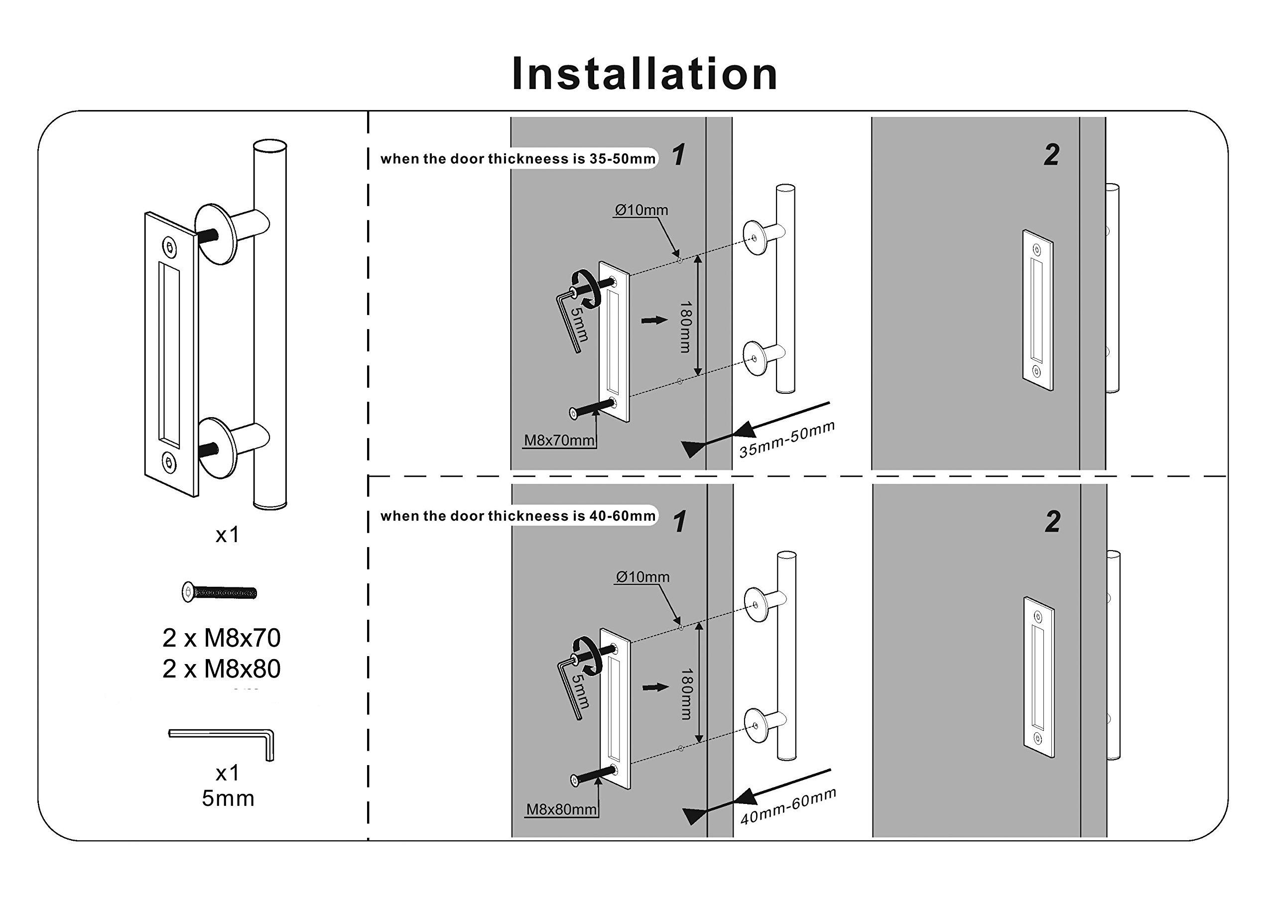Floradis Pull And Flush Handle Set 12 For Sliding Barn Door