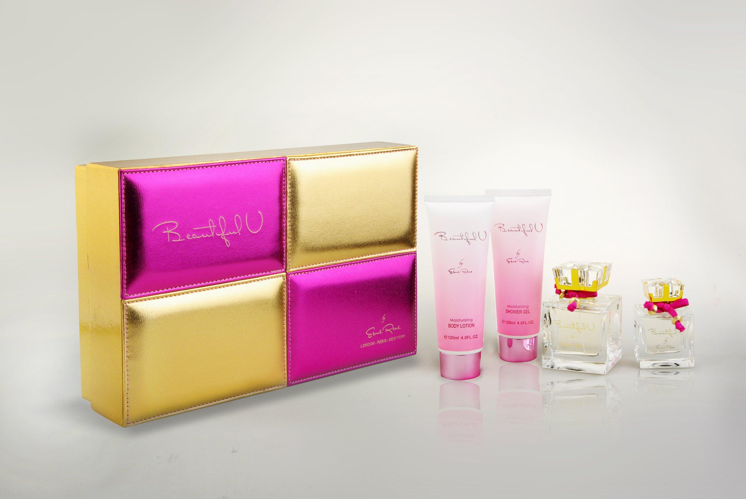 BEAUTIFUL U Esme Rene Women Gift Set Eau de Perfume 3.4oz Spray + 1.7oz OZ Eau de Perfume + 4OZ Lotion + 4oz OZ Shower Gel