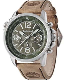 Timberland Campton Men s Quartz Watch with Green Dial Chronograph Display  and Brown Leather Strap 13910JS  643a420b56c