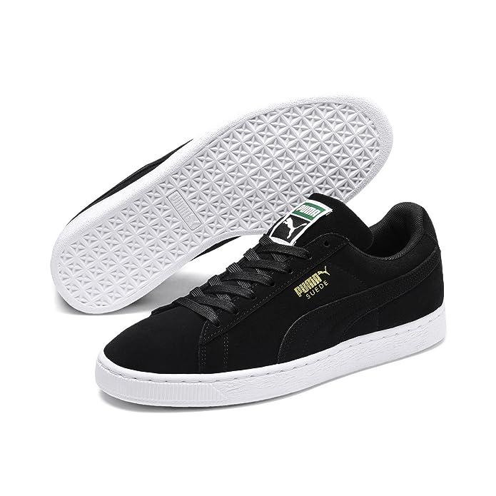 Puma Suede Schuhe Erwachsene Damen Herren schwarz (Black Team) m schwarzem Streifen