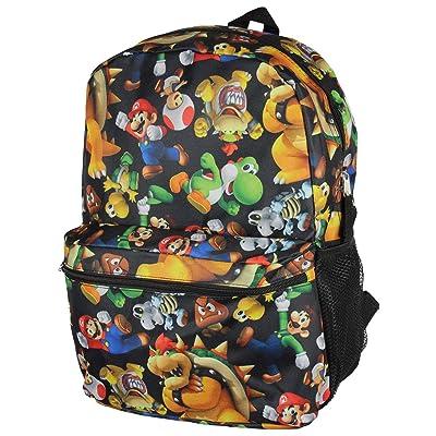 "Super Mario Bros. Backpack All Over Character Print 16"" School Bag   Kids' Backpacks"