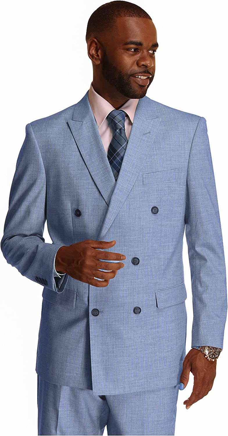 2020 Men/'s Blue Double Breasted 6 Button Classic Slim Fit Suit Pant NEW