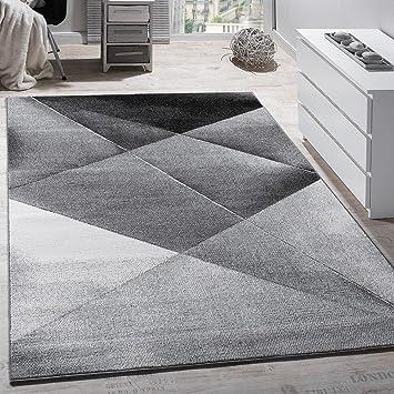 Paco Home Tapis Design Moderne Motifs Geometriques Poils Ras Gris