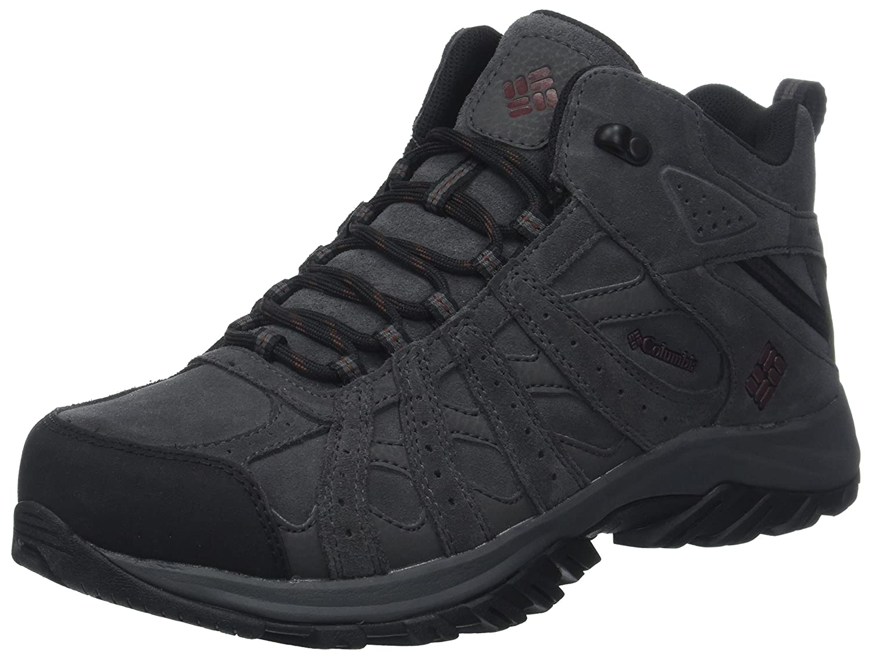 gris (Dark gris, Madder marron) 45 EU Columbia Canyon Point Mid cuir Omni-Tech, Chaussures de Randonnée Basses Homme
