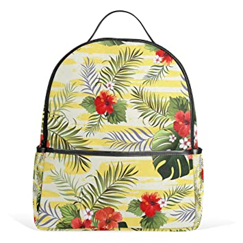 Mydaily Palm Leaves Hibiscus Flower Backpack For Boys Girls School