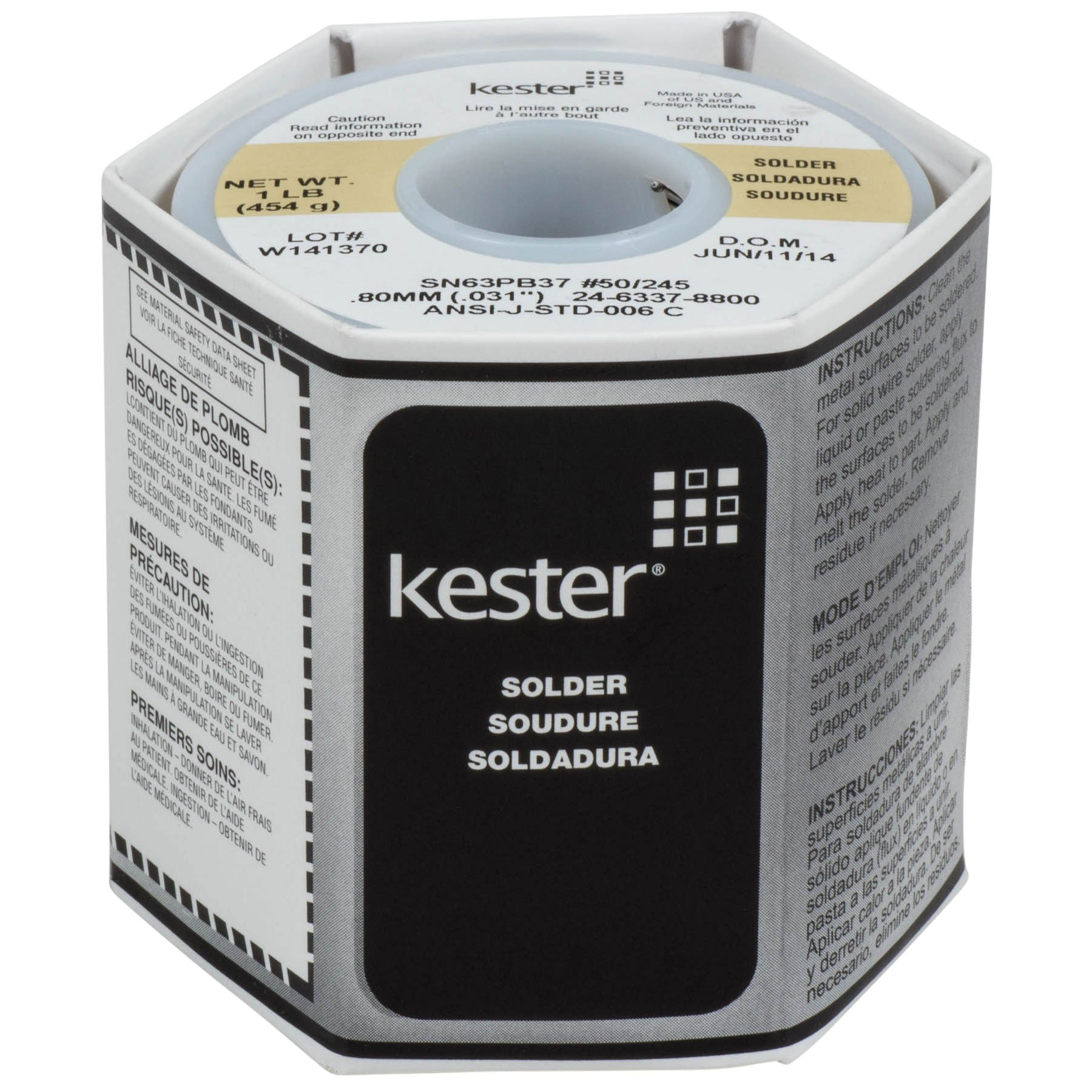 Kester 24-6337-8800 50 Activated Rosin Cored Wire Solder Roll, 245 No