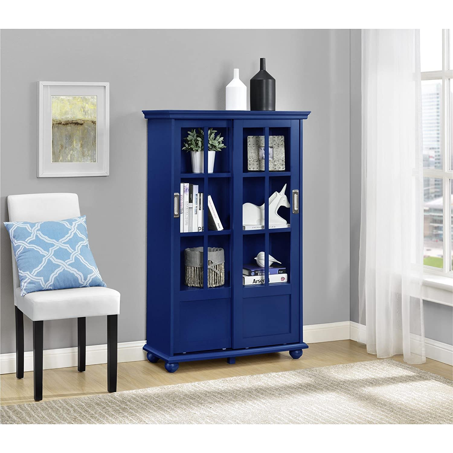 Great Amazon.com: Ameriwood Home Aaron Lane Bookcase Sliding Glass Doors, Blue:  Kitchen U0026 Dining